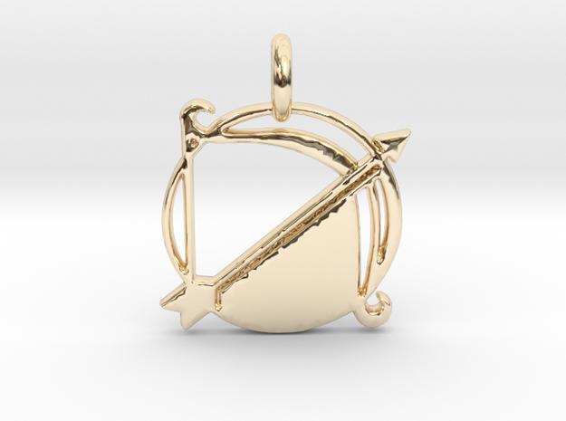 Astrology Zodiac Sagittarius Sign  in 14k Gold Plated Brass