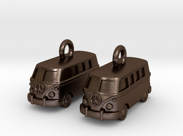 VW Van Earrings in Polished Bronze Steel