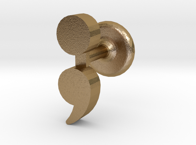 Semicolon Cuff Links in Polished Gold Steel