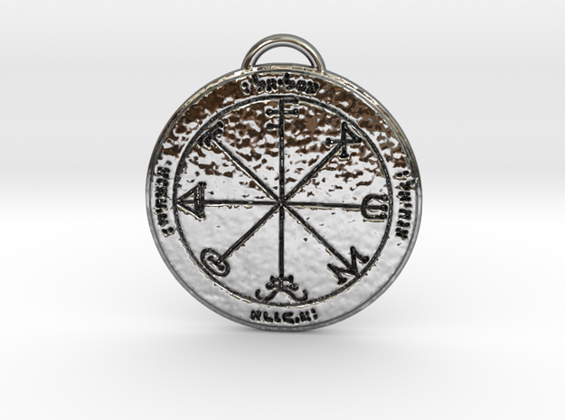 Third Pentacle of Saturn in Fine Detail Polished Silver
