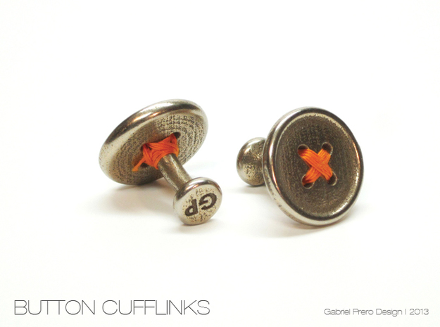 Button Cufflinks in Polished Bronzed Silver Steel