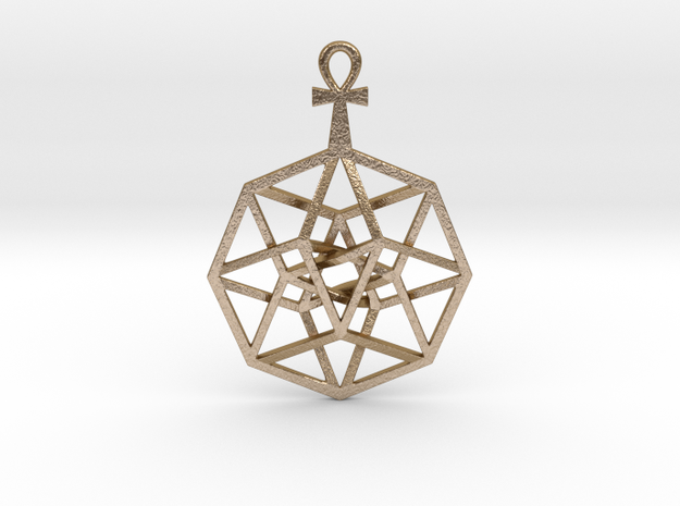 TesserAnkh Pend Small in Polished Gold Steel
