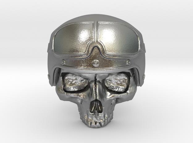Motorbike Skull in Raw Silver