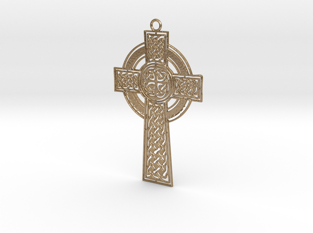 Celtic Cross in Polished Gold Steel
