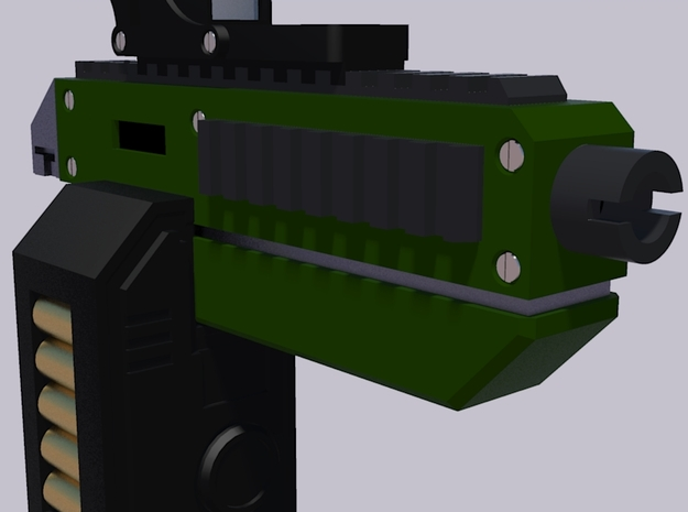 28mm X-1 Compact Assault Rifle (10 Pack) 3d printed Front Render with Box Magazine and Holographic Sight