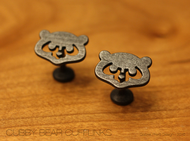 Chicago Cubs Cufflinks in Polished Grey Steel