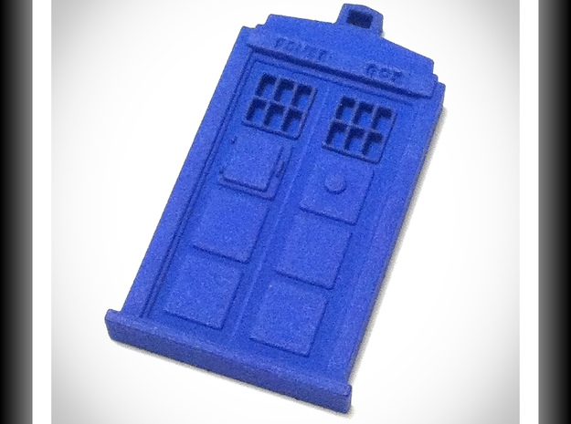 """Pendant Tardis 2"""", Dr. Who 3d printed revised with more definition."""