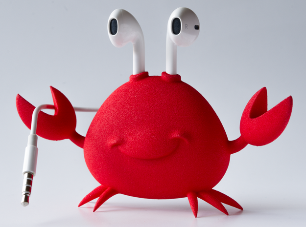 Apple EarPod Crab Holder in Red Strong & Flexible Polished