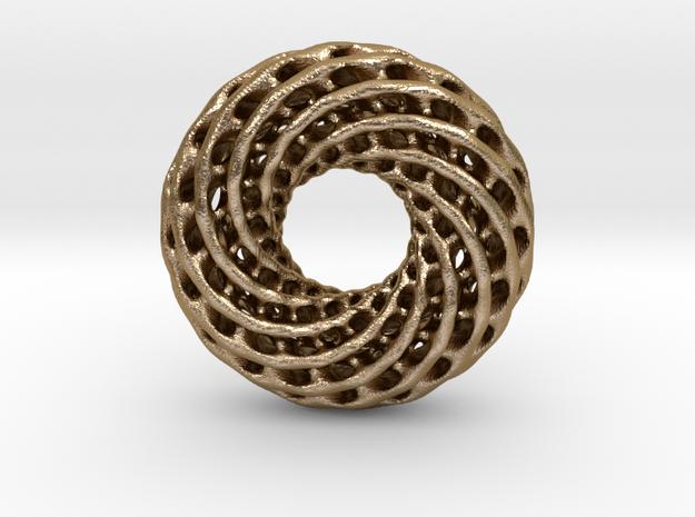 0613 IsoSurface F(x,y,z)=0 Diamond Tori [10] d=5cm in Polished Gold Steel