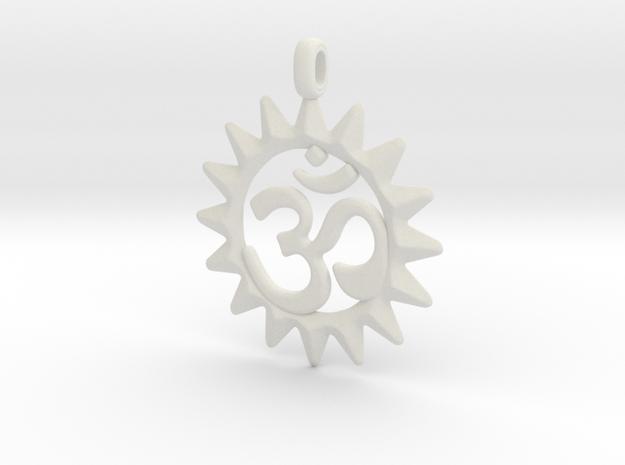 OM Symbol Jewelry Pendant in White Natural Versatile Plastic