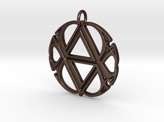 Monogram Initials AA.4 Pendant  in Matte Bronze Steel