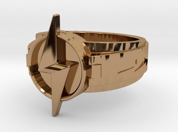 V3 World 3 Flash ring  Size8.5 18.53mm in Polished Brass