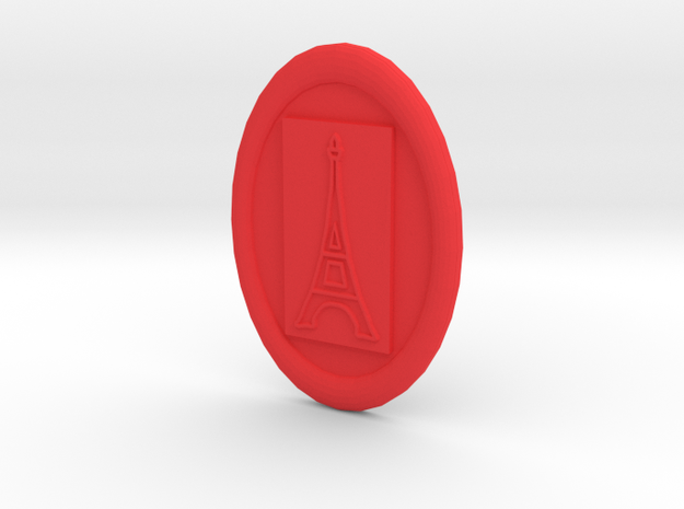 Oval Eiffel Tower Button in Red Strong & Flexible Polished