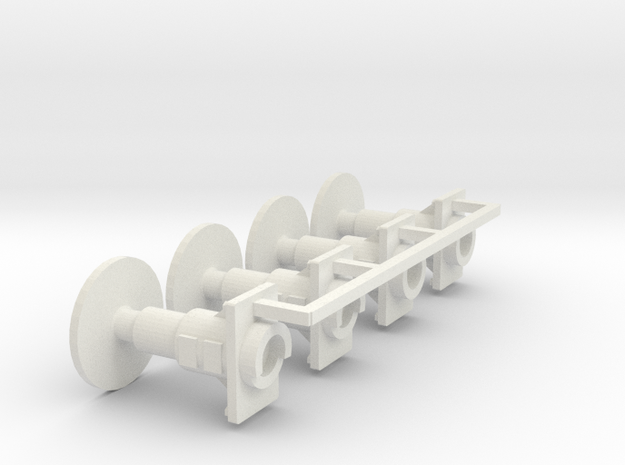 7mm Oleo Wagon Buffer set X4 in White Natural Versatile Plastic