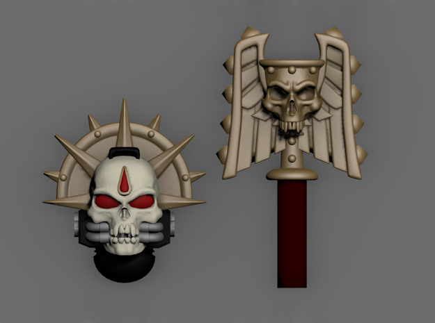 Skull Helm And Hammer W/ Blood Drop