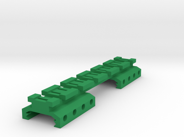Picatinny to Nerf Adapter (6 Slots) in Green Processed Versatile Plastic