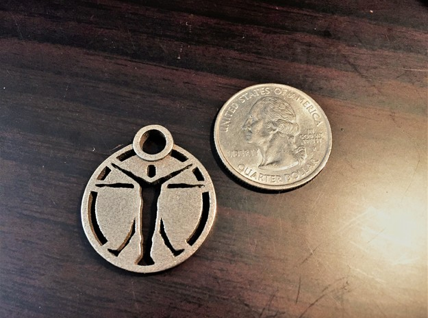 """""""The Institute"""" Pendant in Polished Bronzed Silver Steel"""