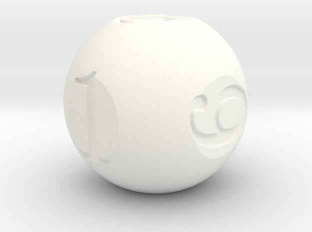 Sphere Dice in White Processed Versatile Plastic