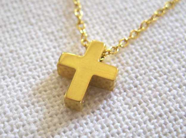 Small Simple Cross Pendant in 18k Gold Plated