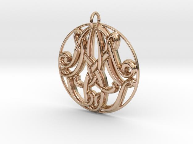 Monogram Initials AAM Pendant in 14k Rose Gold