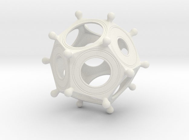 Roman Dodecahedron in White Natural Versatile Plastic: Small
