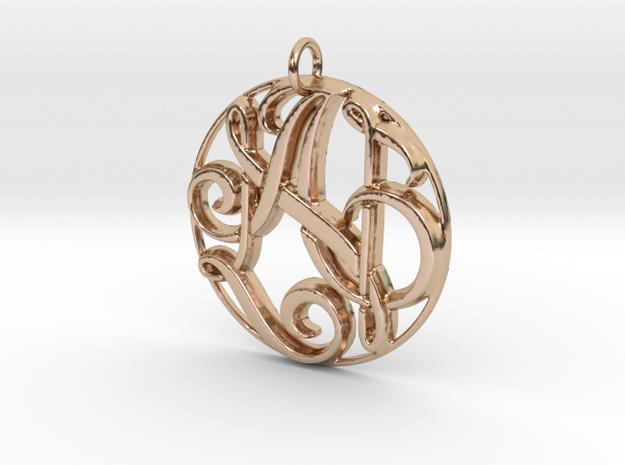 Monogram Initials AN Pendant in 14k Rose Gold