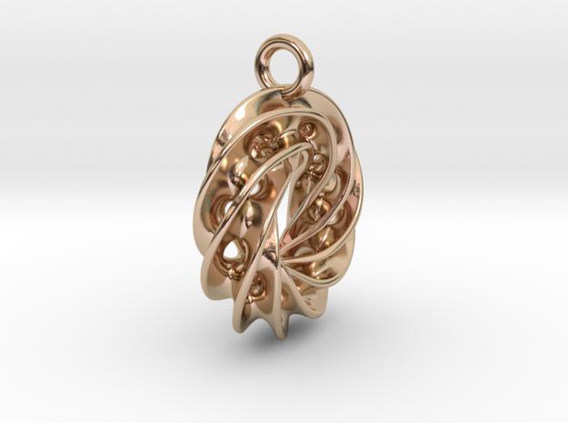 Twisted Scherk Linked 4,3 Torus Knots Pendant – Sm in 14k Rose Gold Plated