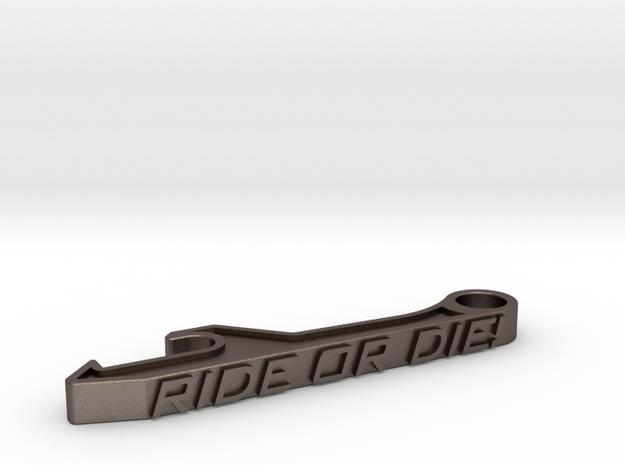 Ride Or Die Bottle Opener Keychain - Standard in Polished Bronzed Silver Steel