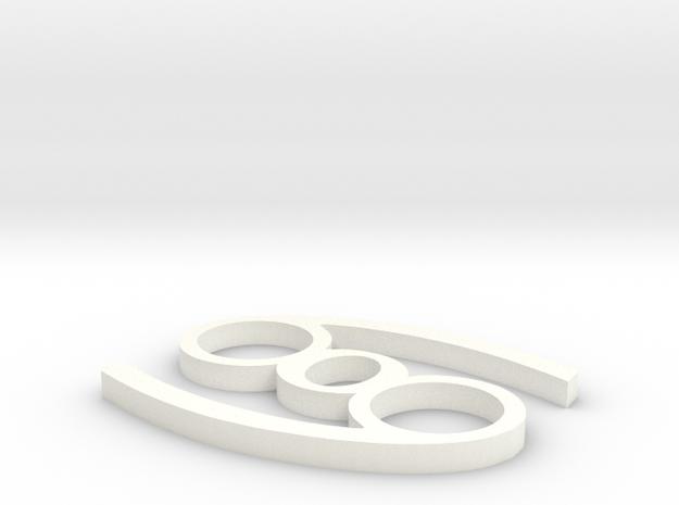 Cancer Pendant in White Processed Versatile Plastic
