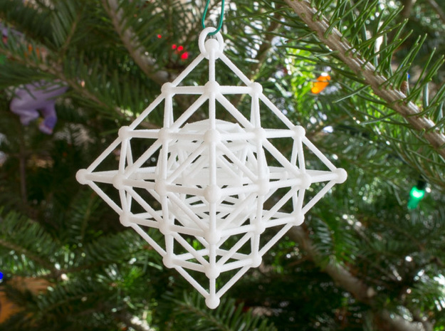 Diamond Spinning Ornament Mini 3d printed Printed in WSF, on tree