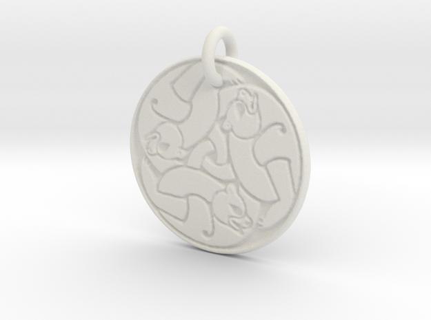 Merida's Bear Pendant in White Natural Versatile Plastic