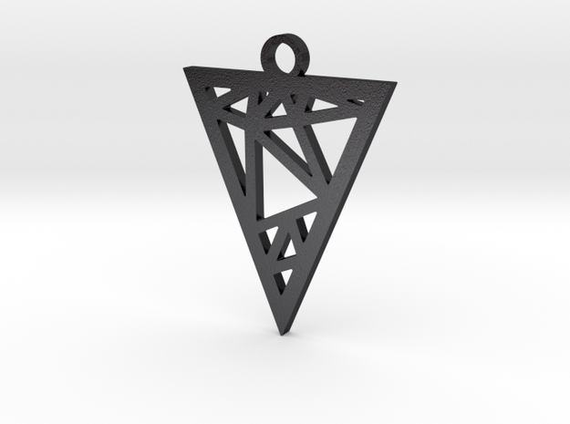 Drop Triangle Pendant in Polished Grey Steel