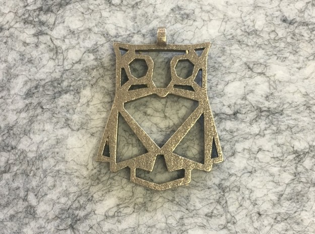 Geometric Owl Necklace in Polished Bronzed Silver Steel