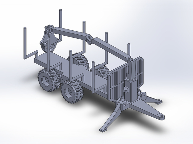 1:160/N-Scale Forest Trailer  With Crane in Smooth Fine Detail Plastic