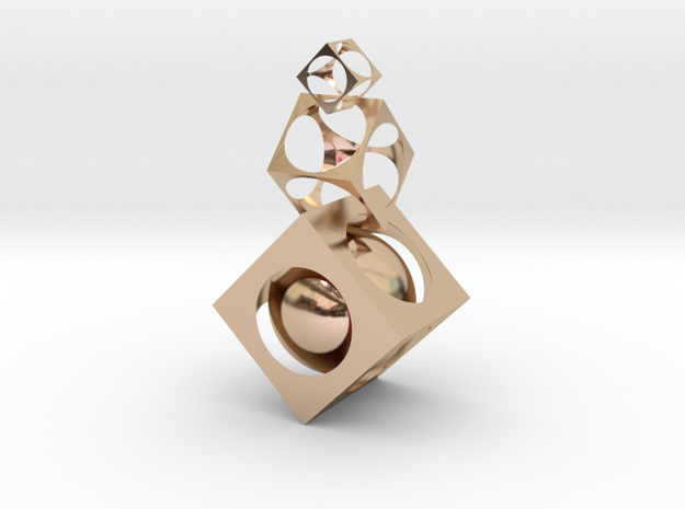 Square ball in 14k Rose Gold Plated
