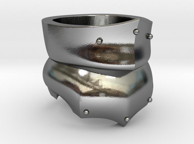 Bevor Ring in Polished Silver