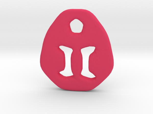 Gemini Zodiac Symbol Tag in Pink Processed Versatile Plastic