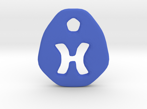 Pisces Zodiac Symbol Tag in Blue Processed Versatile Plastic