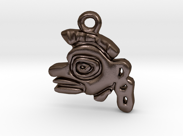 Aztec Monkey Pendant in Polished Bronze Steel