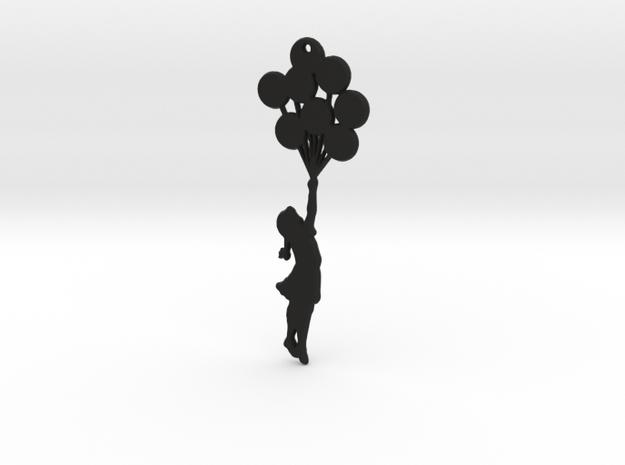 Balloon Girl Pendant in Black Strong & Flexible