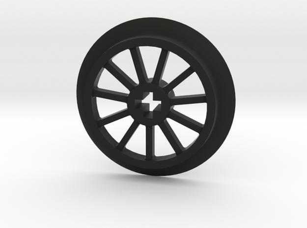 Medium sized Train Wheel in Black Natural Versatile Plastic