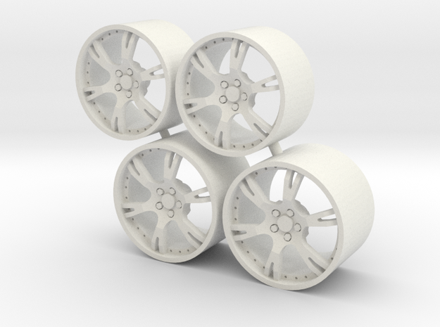 Set Wheels 6 Sporz² for Aoshima Aventador in White Natural Versatile Plastic