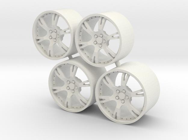 Set Wheels 6 Sporz² for Aoshima Aventador in White Strong & Flexible