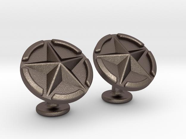 US Army Star Cufflinks in Polished Bronzed Silver Steel