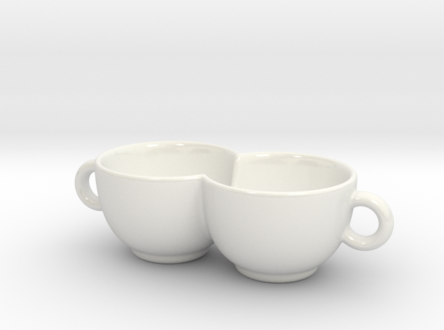 Coffee Cup for Lovers! Impossible Object in Gloss White Porcelain
