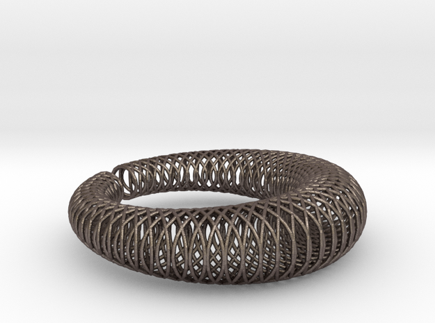 Bracelet 'Wire pattern' in Polished Bronzed Silver Steel