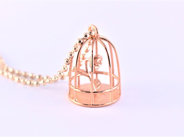 Beauty & the Beast inspired Rose In Cage Pendant