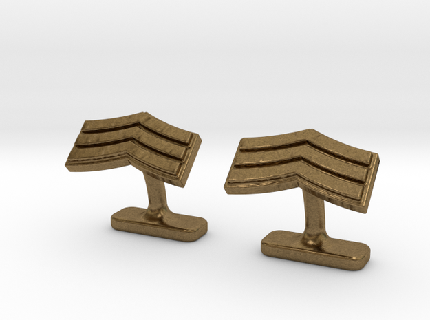 Mens sergeant 3 stripe cufflinks in Natural Bronze
