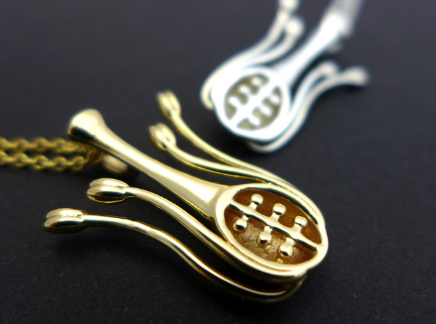Floral Anatomy Pendant in Polished Brass