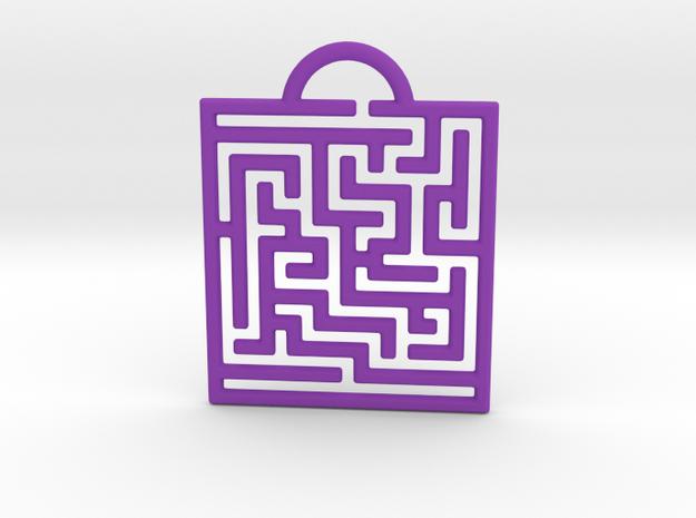 Maze Pendant in Purple Processed Versatile Plastic